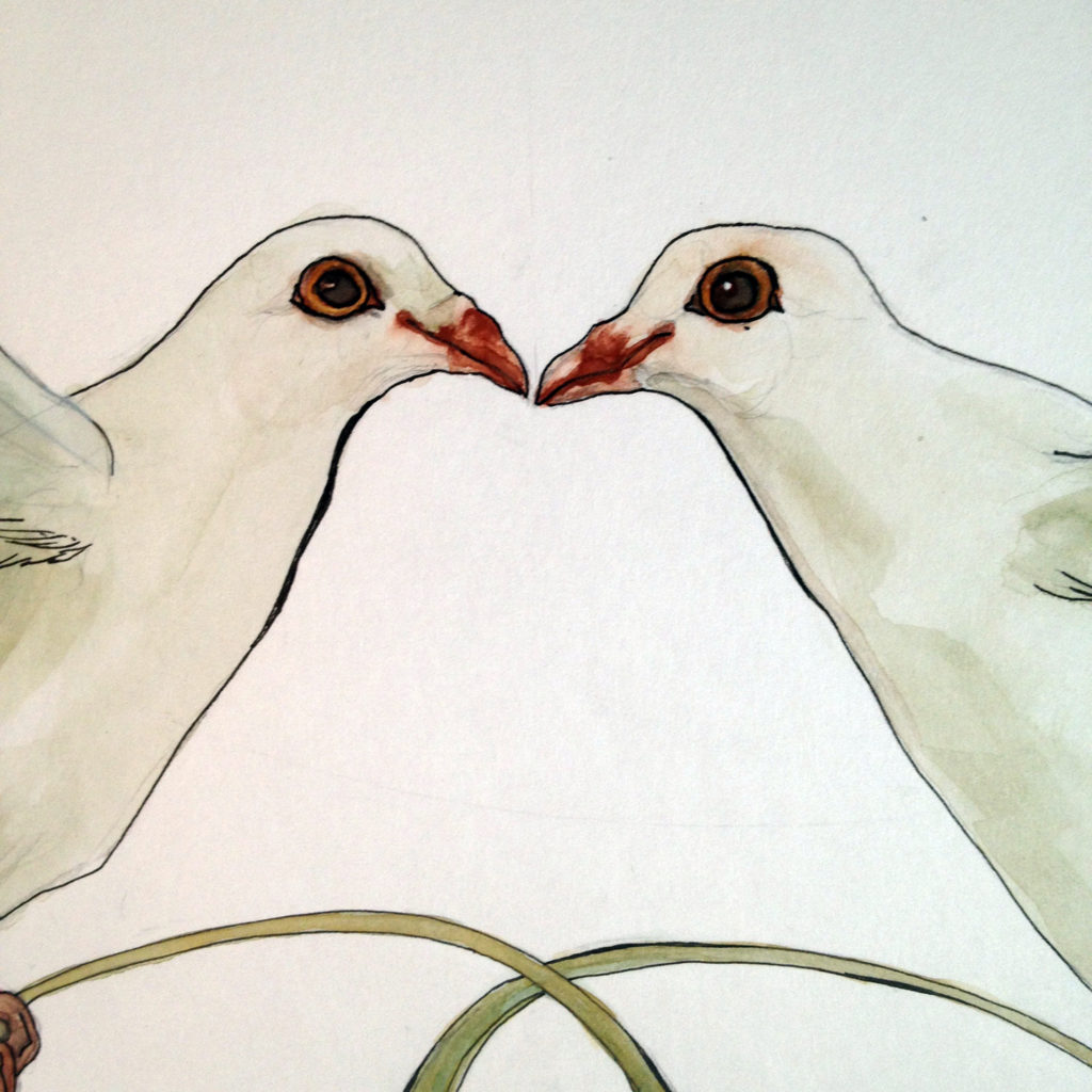 Beloved Doves Watercolor Ketubah -detail