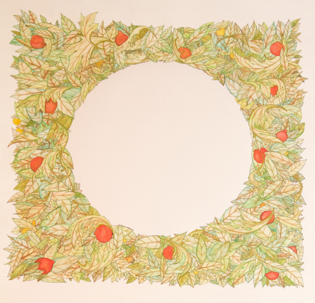 Watercolor Tree of Plenty Wreath Ketubah with greens, pomegranates, lemons, and gold