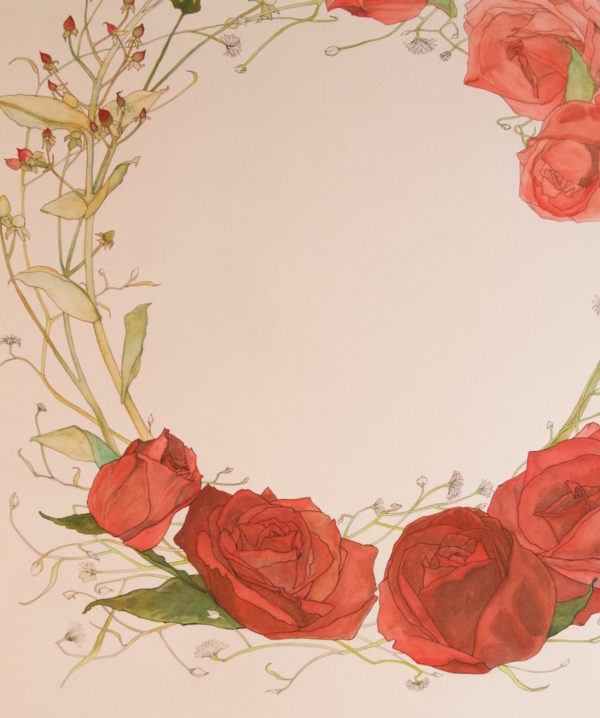 Watercolor Rose Wreath Ketubah