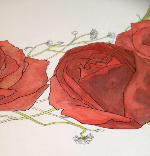 Watercolor Rose Wreath Ketubah