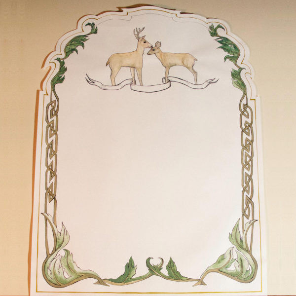 This ketubah is cut in the Italian style. Two deer at the top stand together, surrounded by a Celtic knot and acanthus border, with gold ink lining around the edge. Your custom wedding vows will be hand written, and there is a space in the banner for the names of the loved ones, or a customized message with personal meaning for the couple.