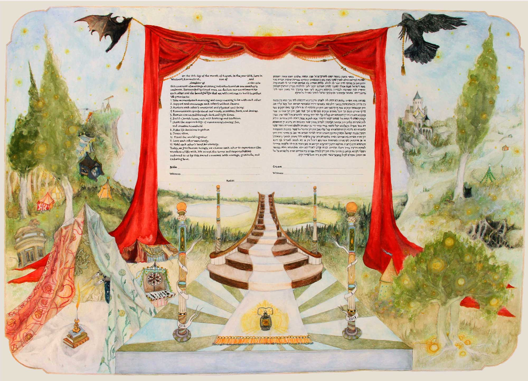 This is an example of a narrative ketubah based on the couple's personal love story.