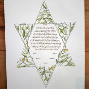 Jewish Star of David Olive Branch Ketubah